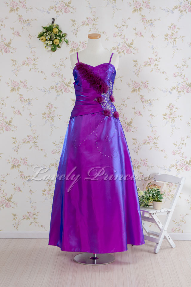 【フォーマル・ステージロングドレス】コサージュビーズ&刺繍ロングドレス パープル(1860049)