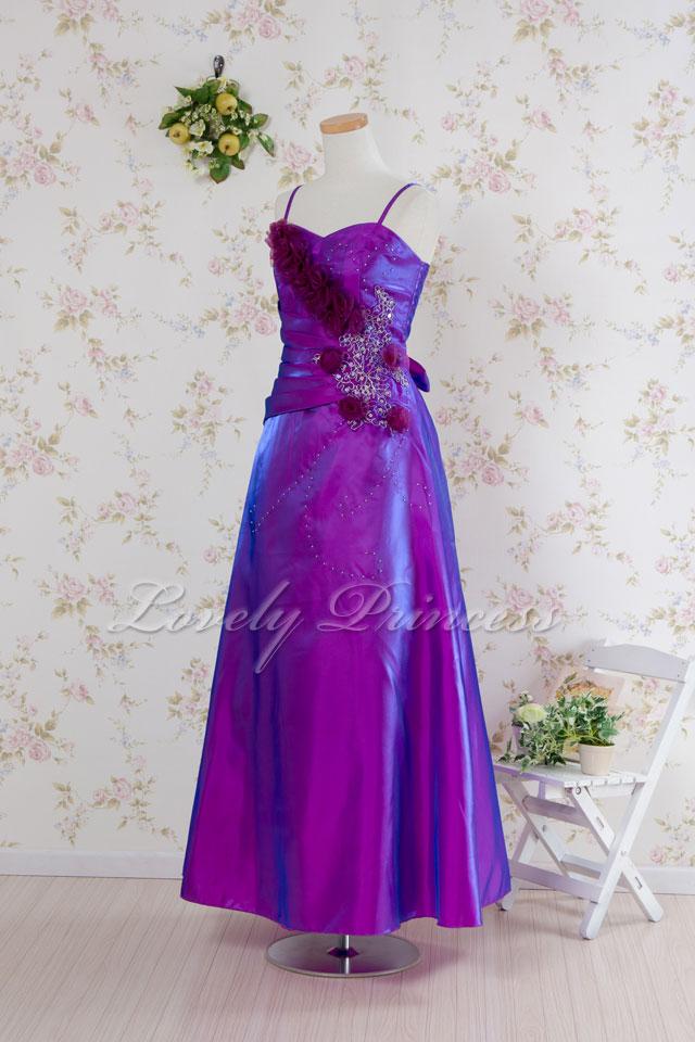 【ステージドレス】コサージュビーズ&刺繍ロングドレス パープル(1860049)