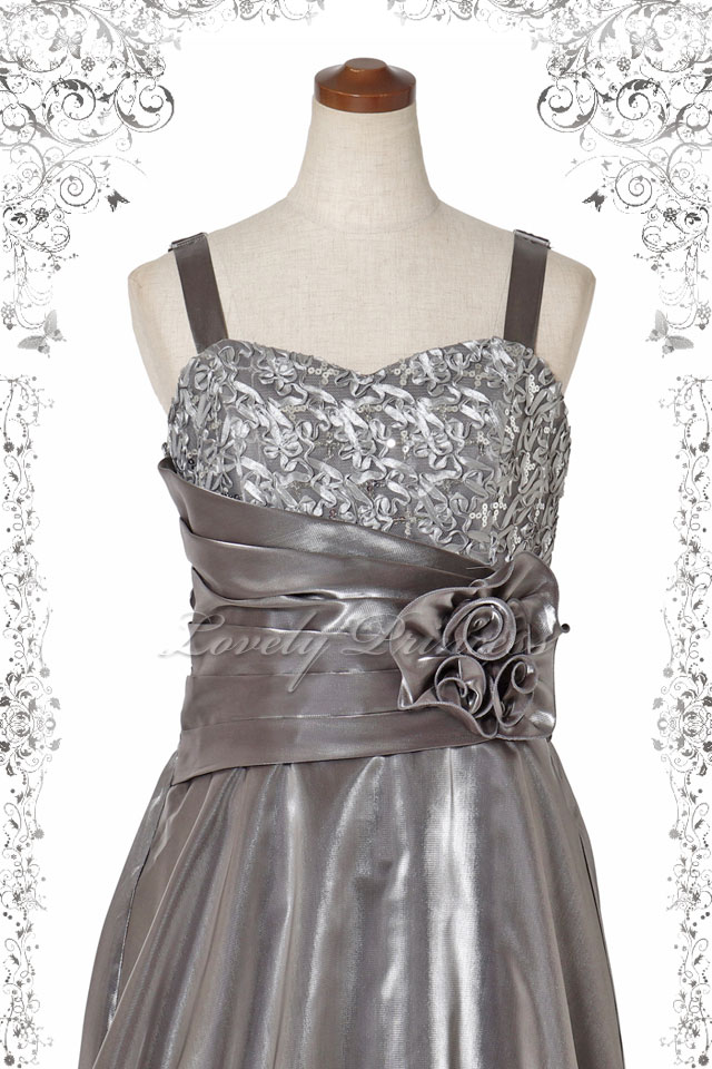 【レディース用ドレス・ステージドレスロング】幅広肩紐胸スパンフラワーロングドレス シルバー(60184)