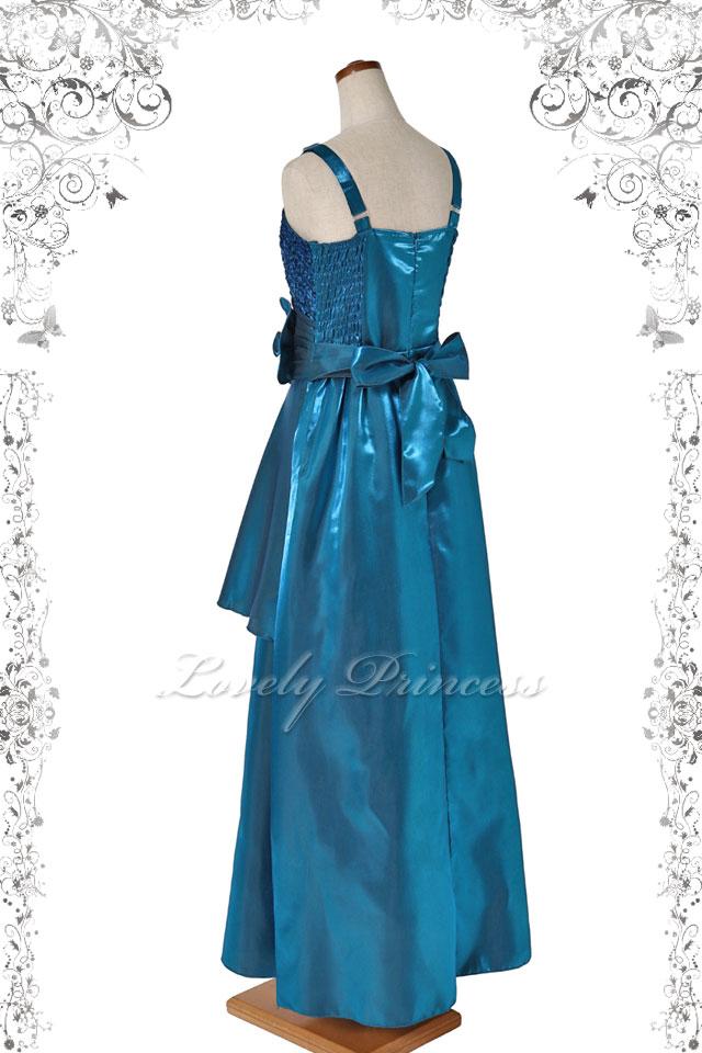 【レディース用ドレス・ステージドレスロング】幅広肩紐胸スパンフラワーロングドレス ティール(60184)