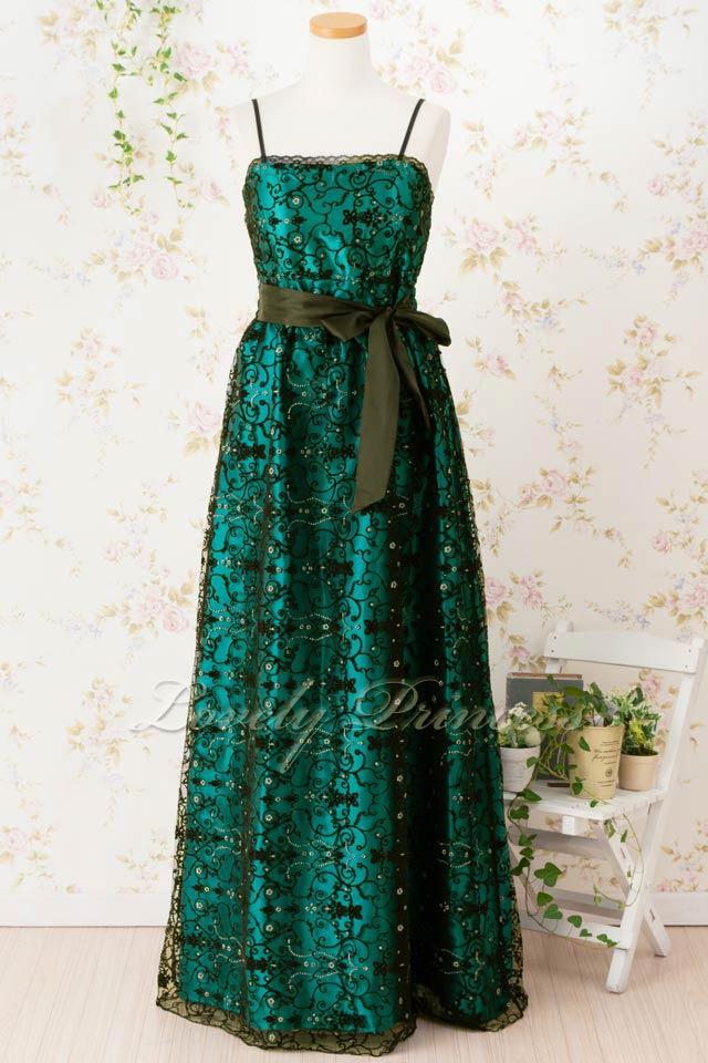 エンパイアフロッキー重ねサテンロングドレス エメラルドグリーン