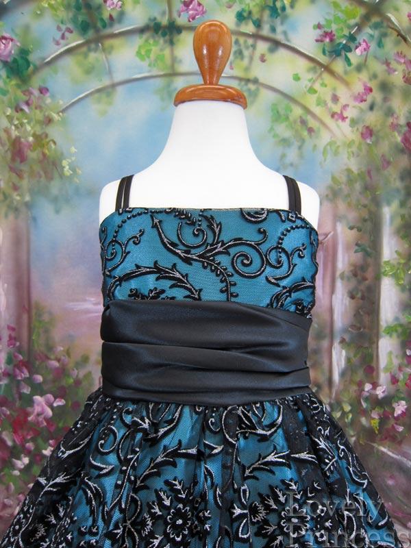 ボレロ付子供ドレス ヴァレリー ブラックアクアブルー