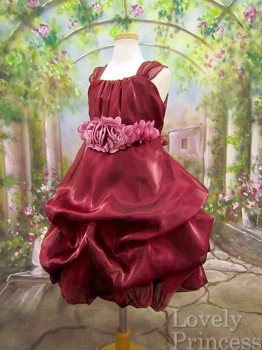 子供ドレス シェミー バーガンディ