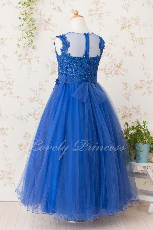 ステージ衣装子供ドレス ジュニアドレス ジョゼット ロイヤルブルー