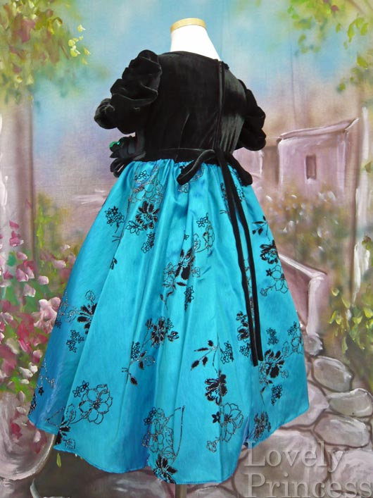 子供ドレス リナ ブラック/アクアブルー