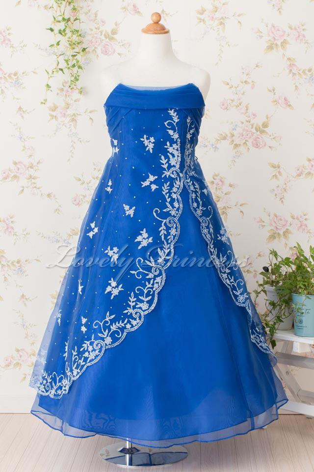 子供ドレス ベアトップタイプ透明肩紐ストラップ付 イブ ロイヤルブルー