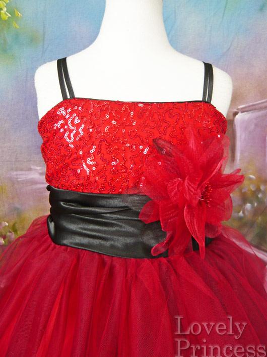 子供ドレス スザンヌ レッド/ブラック