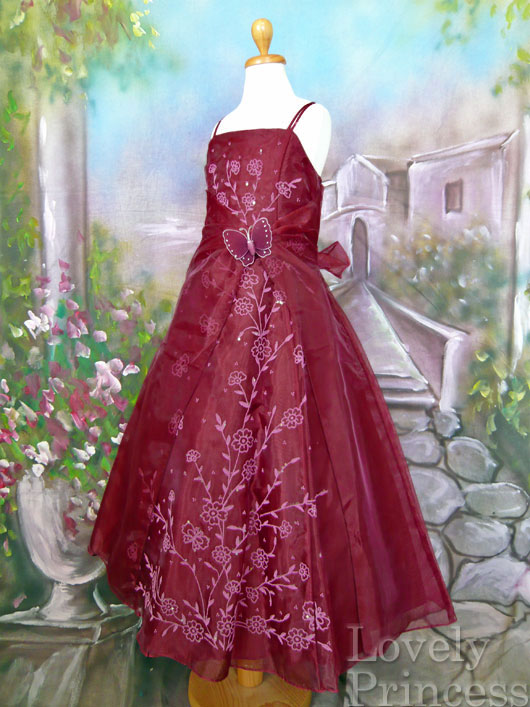 子供ドレス パピヨン バーガンディ