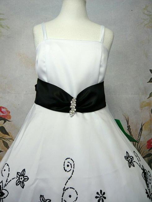 子供ドレス ジョアン ホワイト/ブラック1