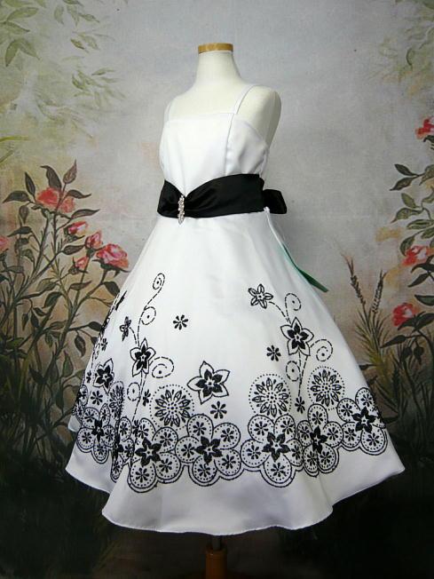 子供ドレス ジョアン ホワイト/ブラック3