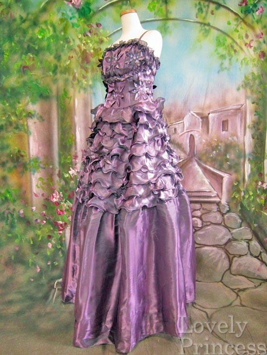 パーティードレス 段々メローフリルビーズ刺繍フラワー豪華姫ドレス パープル