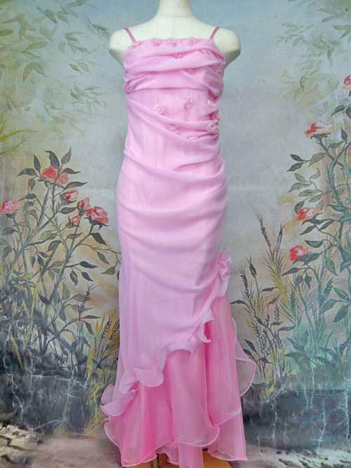 745fad6c4508a  パーティードレス・ステージドレスロング シフォンシャーリングマーメイドドレス ピンク
