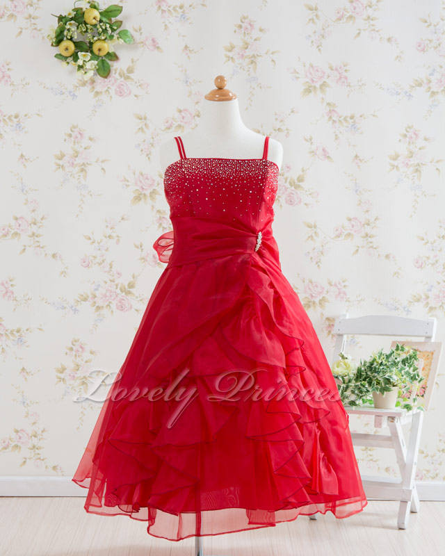 子供ドレス・ジュニアドレス マドレーヌ レッド