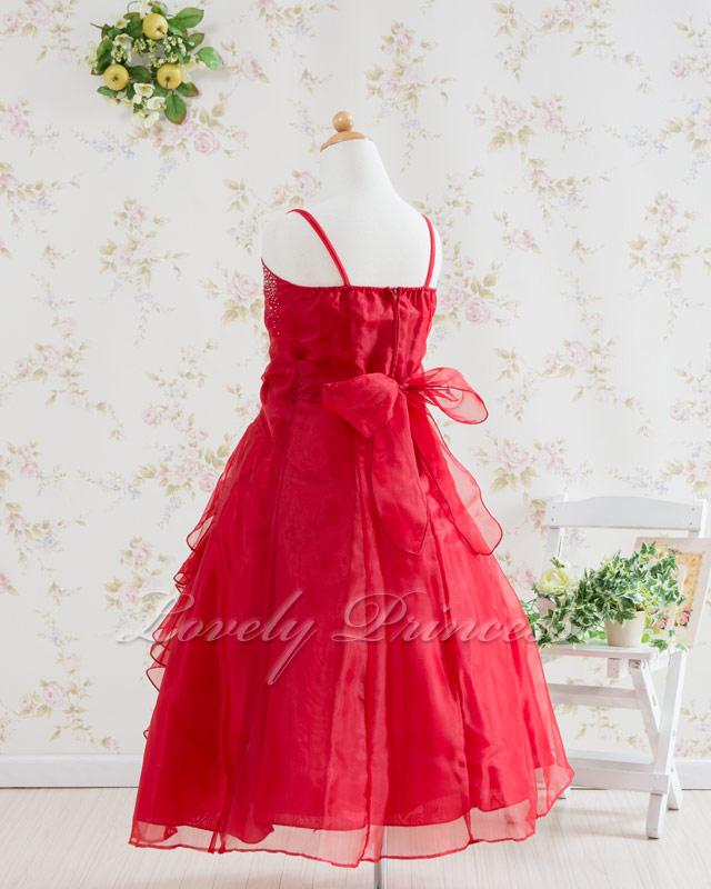 ジュニアドレス/子供ドレス マドレーヌ レッド