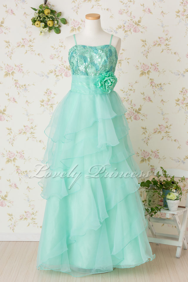 フラワー刺繍スパンロングドレス ミント