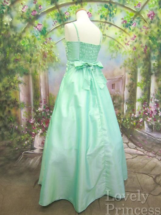 【パーティードレス・ステージドレスロング】フラワースパンコール装飾ロングドレス ミント