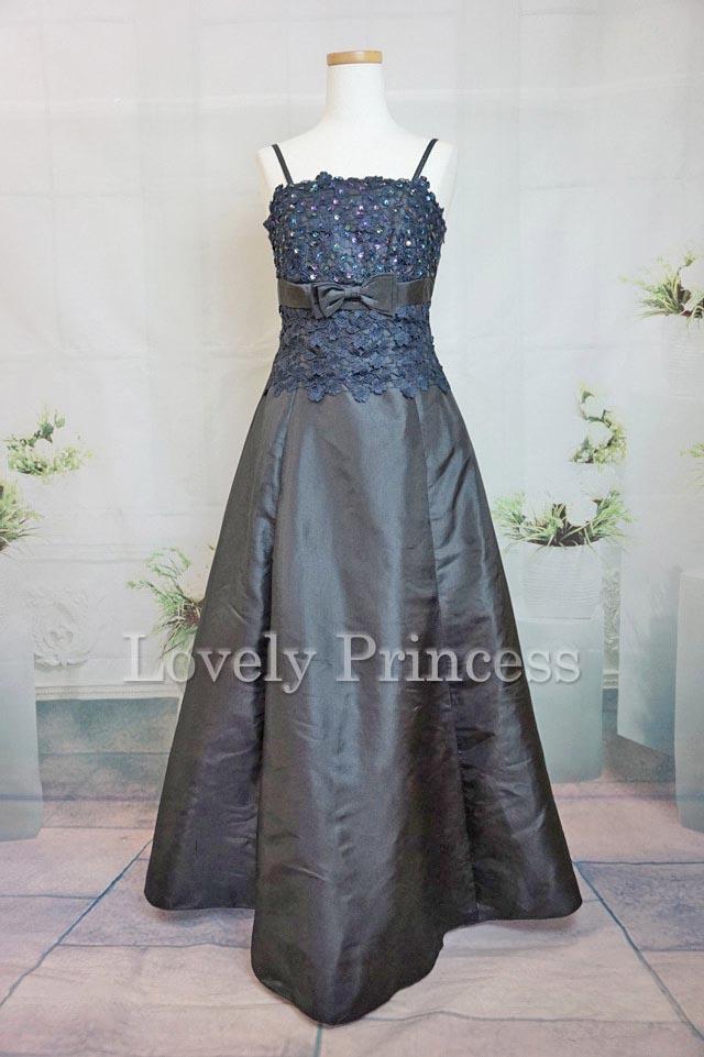 フラワースパンコール装飾ロングドレス ブラック