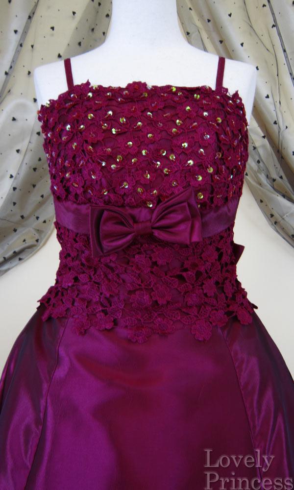 フォーマルドレス フラワースパンコール装飾ロングドレス ワイン