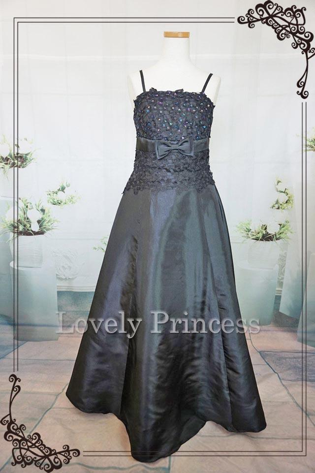 フォーマルロングドレス フラワースパンコール ロングドレス ブラック