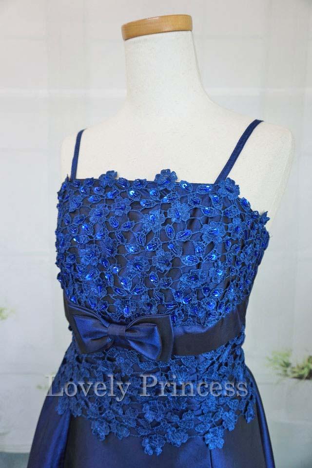 フォーマルドレス フラワースパンコール装飾ロングドレス ロイヤルブルー(2676)