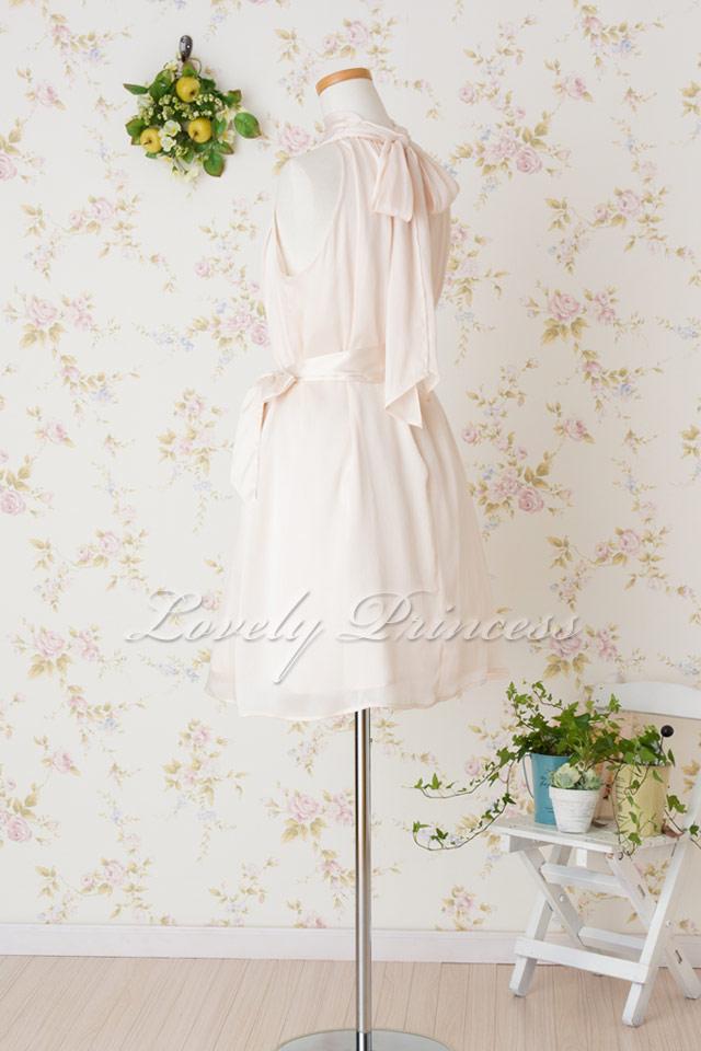 【パーティードレス・演奏会ドレス】アメリカンスリーブシフォンショートドレス シャンパン(K031)
