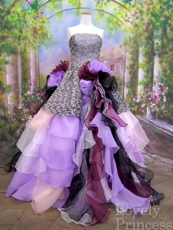 ステージ衣装・結婚式に!グラデーションフリルカラーロングドレス