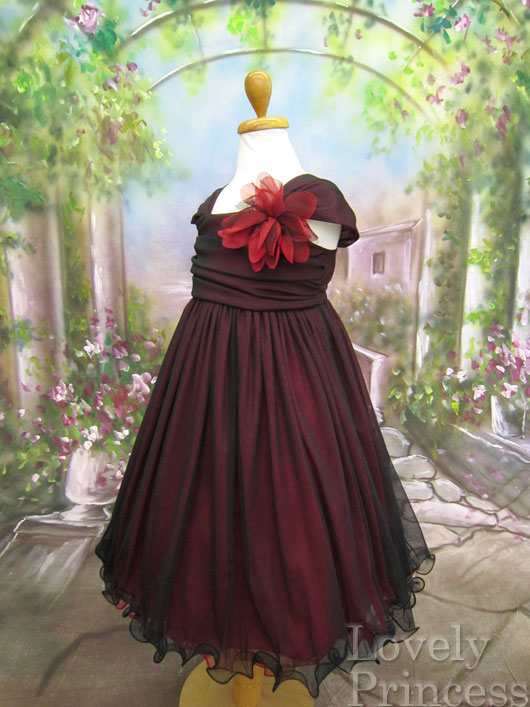 子供用ドレス ユニス ブラックレッド