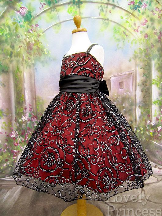子供ドレス ヴァレリー ブラックレッド