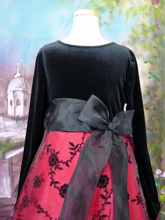 子供ドレス ヘレン ブラック/レッド