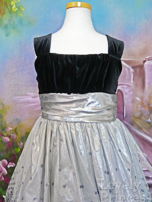 子供ドレス ヒラリー ブラック/シルバー