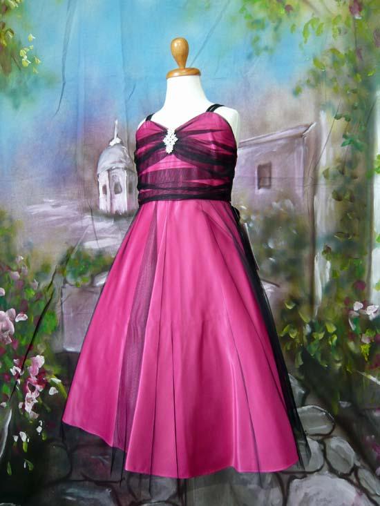 シックでお洒落なドレス アンジェ フューシャ/ブラック