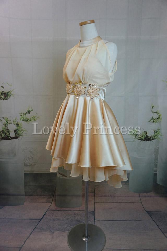【パーティードレス・演奏会ドレス】ホルターネックパーティードレス シャンパン(82105