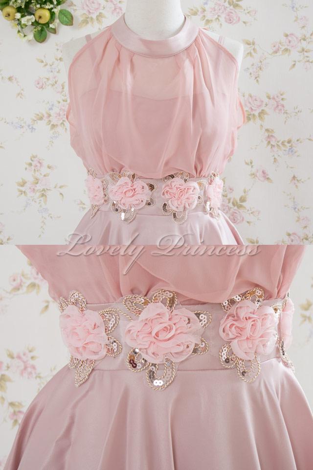 【パーティードレス・演奏会ドレス】ホルターネックパーティードレス ピンク(82105