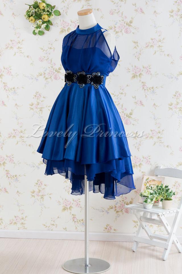 【パーティードレス・演奏会ドレス】ホルターネックパーティードレス ロイヤルブルー(82105