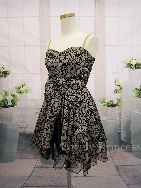 ブラックチュールレイヤー加工ドレス ゴールド(SK82131-G)