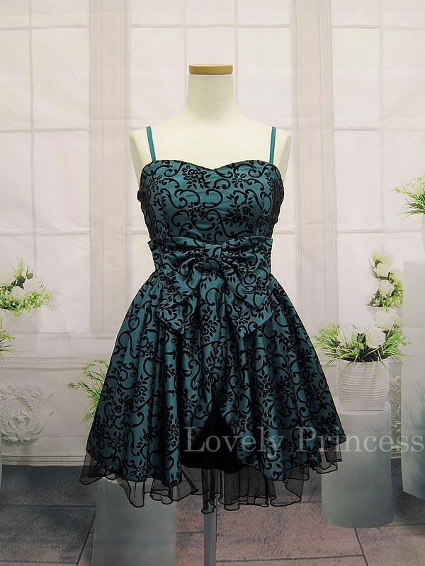 ブラックチュールレイヤー加工ドレス ティール(SK82131-BG)