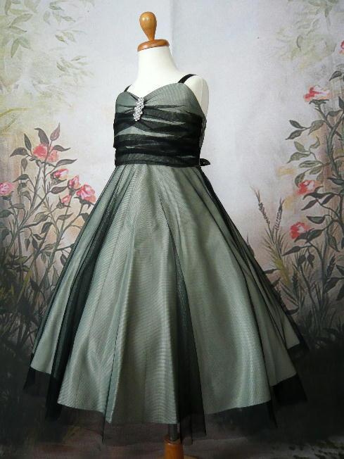 子供ドレス アンジェ セージ/ブラック3
