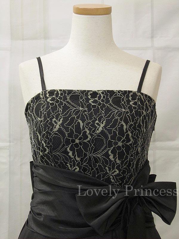 【フォーマルドレス・演奏会ドレス】胸元刺繍&ウエストリボンロングドレス ブラック(SKJ001)