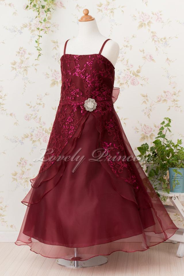結婚式子どもドレス 子どもドレス(TK4386) バーガンディ