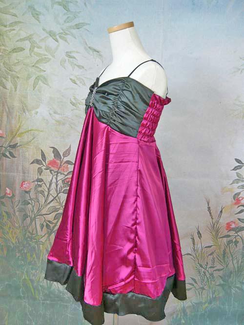 パーティードレス センタースパンコールサテンショートドレス フューシャ